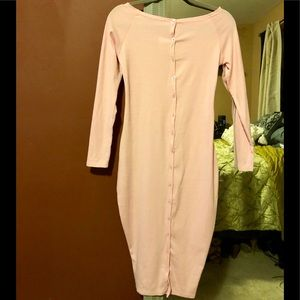 Pink Ribbed Long Sleeve Button Up Dress